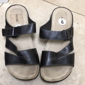 Brown vegan leather flat comfort sandals